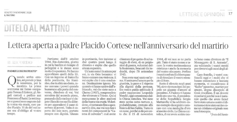 Lettera aperta - padre Luigi Francesco Ruffato