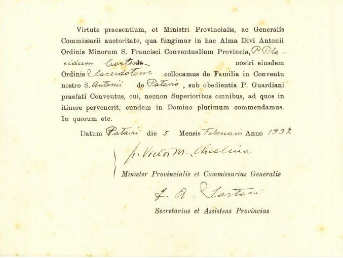 CORTESE - 1937.02.05 - Ministro prov. Chialina [obbedienza]