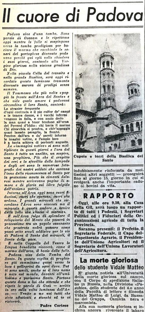 Articolo di Padre Placido - Gazzettino