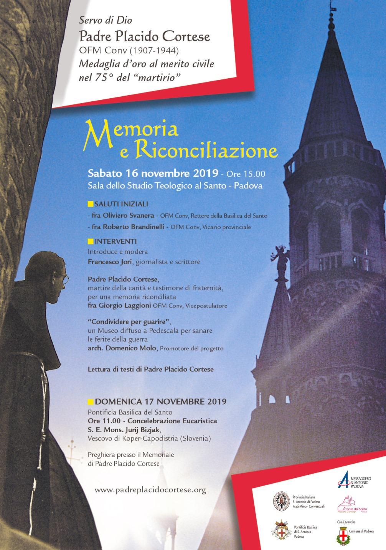 Locandina della commemorazione a Padova, 16 e 17 novembre 2019