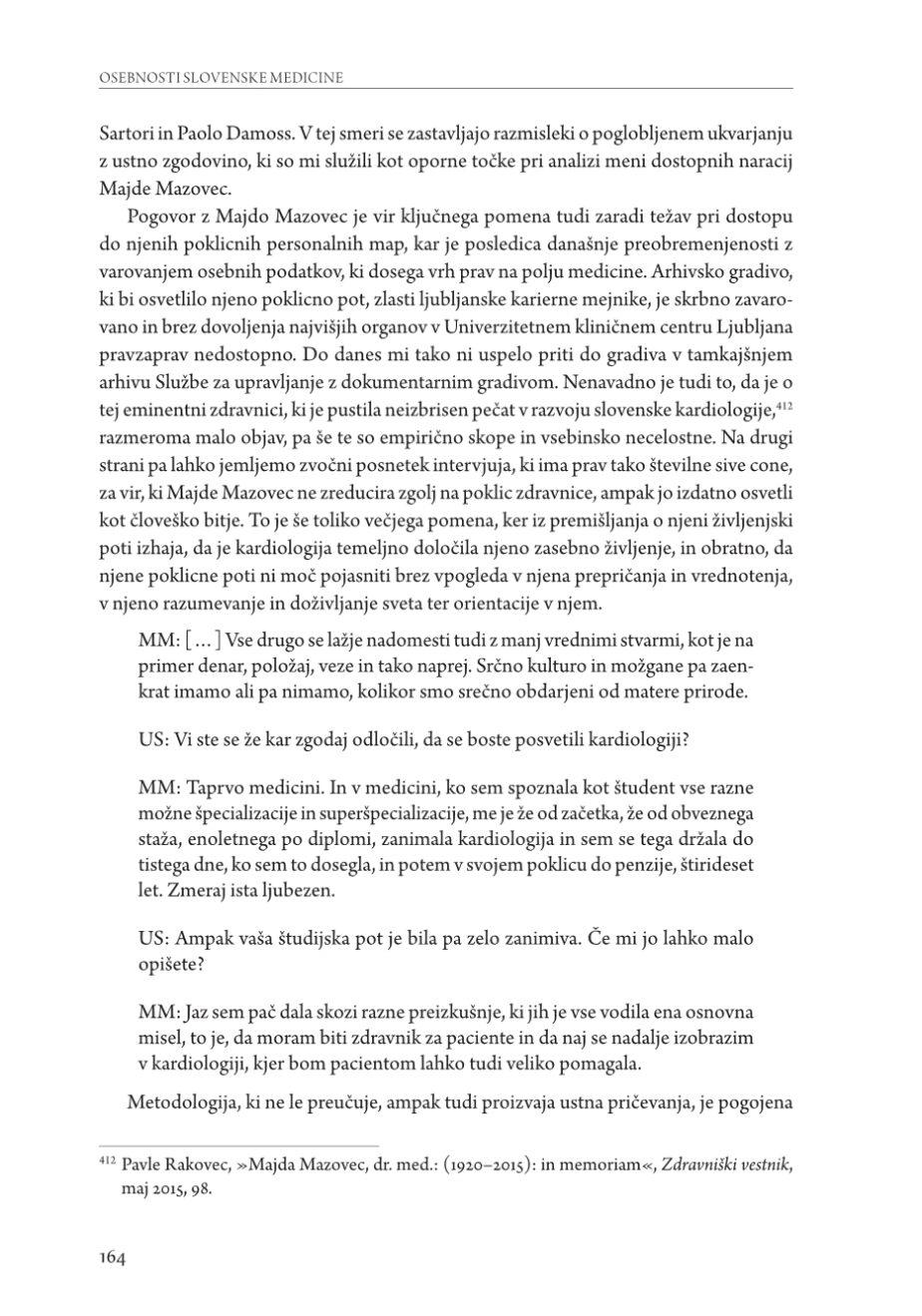 MAJDA MAZOVEC, CARDIOLOGA, in OSEBNOSTI SLOVENSKE MEDICINE (PERSONAGGI ILLUSTRI DELLA MEDICINA SLOVENA)