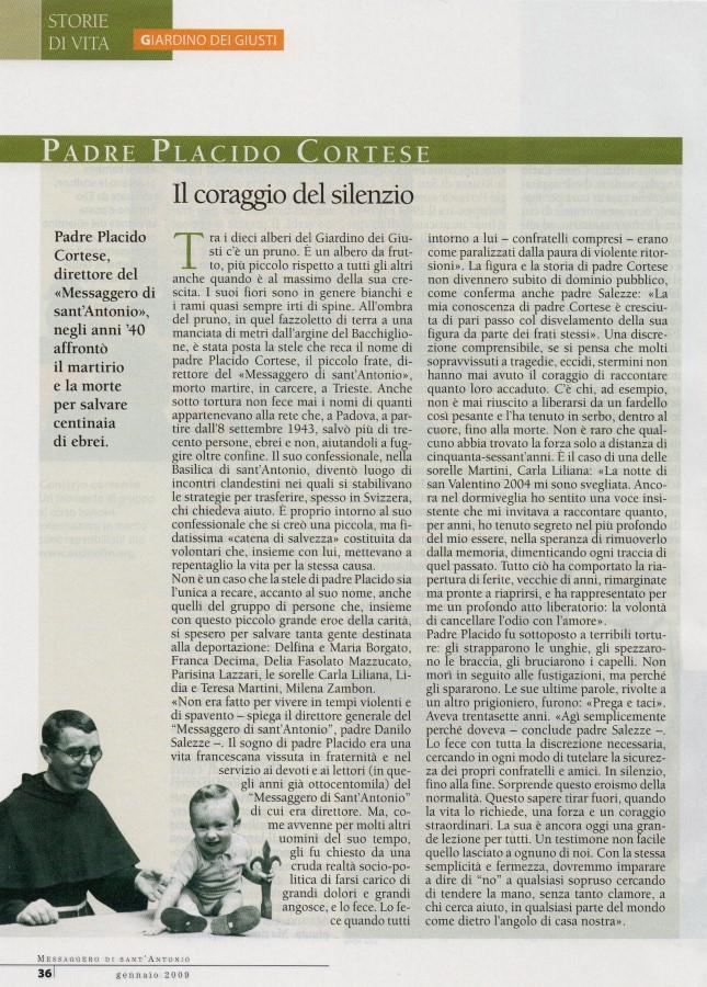 Messaggero di S. Antonio sul Giardino dei Giusti, gennaio 2009
