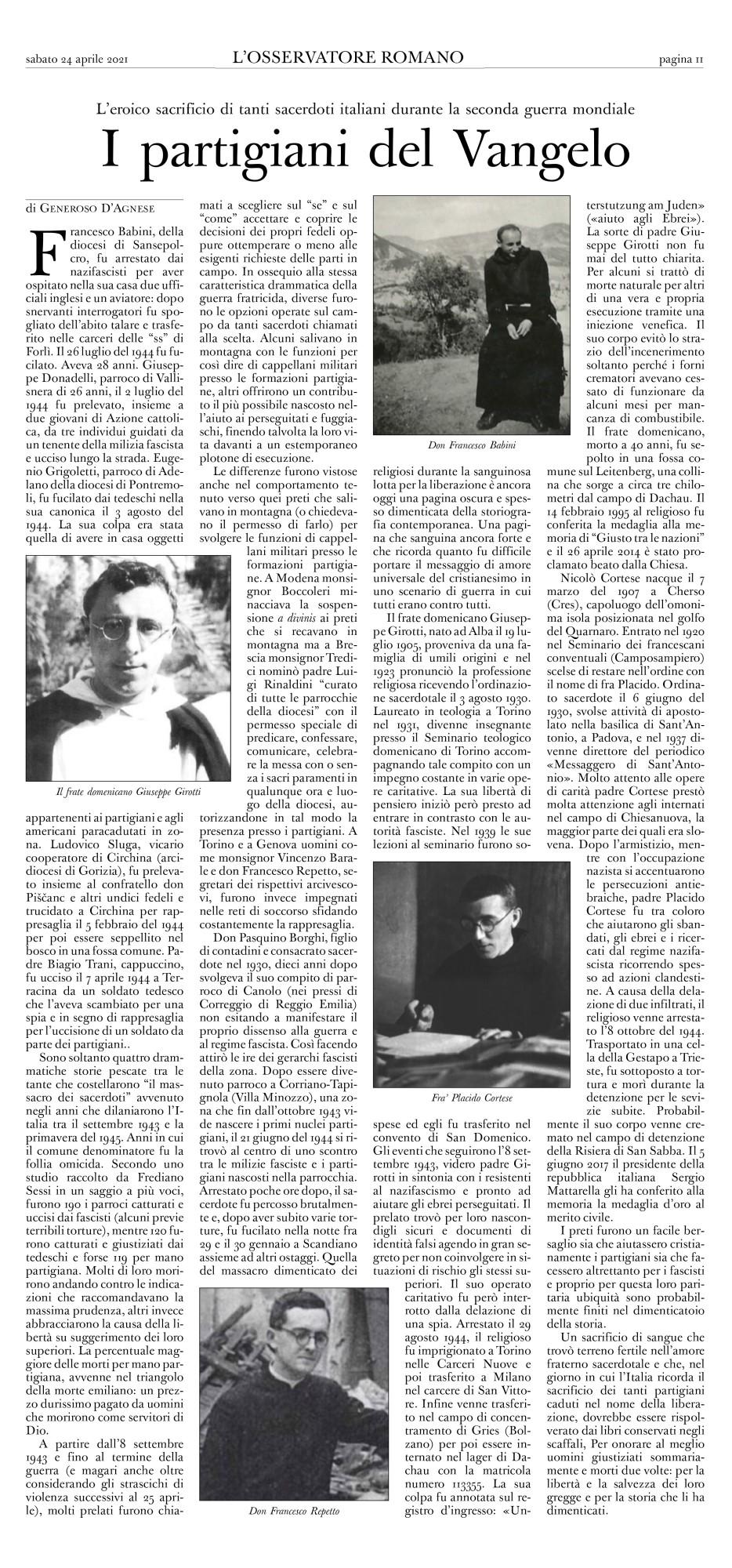 Osservatore Romano - 24 aprile 2021