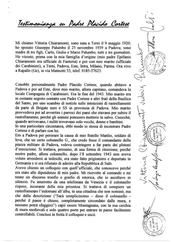 Testimonianza Vittoria Chiaramonti Palumbo